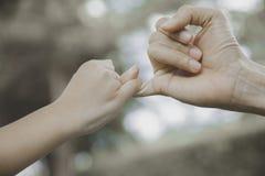 Sira de mãe e sua criança que engancha seus dedos para fazer uma promessa foto de stock royalty free