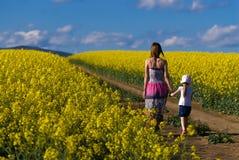 Sira de mãe e sua filha que tem o divertimento na couve-nabiça fi Foto de Stock Royalty Free