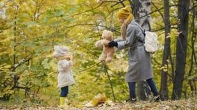 Sira de mãe e sua menina da filha que anda em um parque do outono - jogando com Teddy Bear video estoque