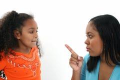 Sira de mãe a scolding a filha Imagens de Stock Royalty Free