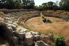 Siracusa-Ancient amphitheater. Southern Italy-Siracusa-Ruins of ancient amphitheater Royalty Free Stock Photos