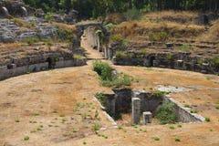 Siracusa-Ancient amphitheater Stock Image