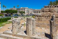 SIRACUSA ARCHEOLOGIA. Siracusa Sicily, Italy -  View of  Largo XXV Luglio in ancient island of Ortigia, ruins of Apollo temple Stock Image