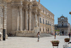 Siracusa Cathedral in Square Piazza del Duomo in Ortigia Siracusa, Italy. Royalty Free Stock Photography