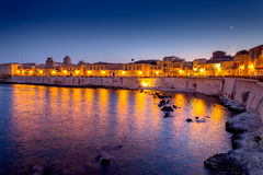 Siracusa at dusk. Island of Ortygia, Siracusa, Sicily, at dusk Stock Photo