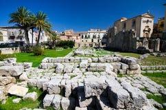 Siracusa, templo de Apollo Imagem de Stock Royalty Free