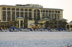 Sirata Beach Resort. In Saint Petersburg Florida, shown from the beach side just after sunrise Royalty Free Stock Photos