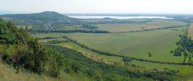 Sirava panorama. Panorama photo taken from Vinne castle (slovak: Viniansky hrad), Sirava lake visible in distance. Slovakia Royalty Free Stock Image