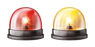 Siren alarm color lights 3D vector illustration. Siren lights vector illustration of red and yellow alarm lamps or police and ambulance emergency flashers royalty free illustration