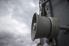 Siren horn aboard naval vessel Stock Photo