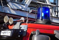 Siren and lights of the firetruck Stock Photos