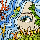 Siren and ocean. Abstract illustration with siren and ocean Stock Photography