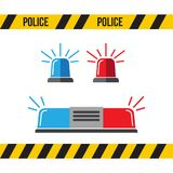 Siren police set. Police flasher or ambulance flasher icons in f. Lat style Royalty Free Stock Images