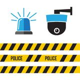 Siren police set. Police flasher or ambulance flasher icons in f. Lat style Royalty Free Stock Photos