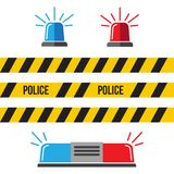 Siren police set. Police flasher or ambulance flasher icons in f. Lat style Stock Photos