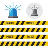 Siren police set. Police flasher or ambulance flasher icons in f. Lat style Stock Image