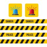 Siren police set. Police flasher or ambulance flasher icons in f. Lat style Royalty Free Stock Photo
