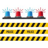 Siren police set. Police flasher or ambulance flasher icons in f. Lat style Stock Photography