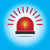 Siren Red Flashing Emergency Light. Royalty Free Stock Photography