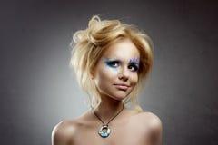 Sirena adolescente del maquillaje de la muchacha Imagen de archivo
