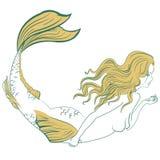 Sirena atractiva hermosa stock de ilustración