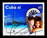 Sirena Beach, Cayo Largo del Sur, Tourism serie, circa 2001. MOSCOW, RUSSIA - MARCH 28, 2018: A stamp printed in Cuba shows Sirena Beach, Cayo Largo del Sur stock photos