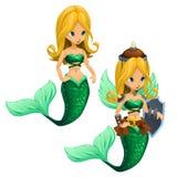 Sirena bionda combattente due con una coda verde Fotografia Stock Libera da Diritti