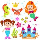 Sirena, castello subacqueo ed animali di mare Pesce, stella marina, ippocampo, granchio, crovn Fotografia Stock