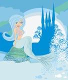 Sirena, castillo y pescados hermosos Foto de archivo