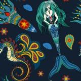 Sirena, cavalluccio marino e calamar ornamentali disegnati a mano, senza cuciture Fotografia Stock