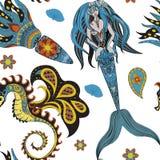Sirena, cavalluccio marino e calmar ornamentali disegnati a mano, senza cuciture Fotografia Stock Libera da Diritti