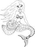 Sirena con il telefono Modelli disegnati a mano per colorare Immagini Stock