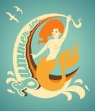 Sirena con la bandera Imagen de archivo