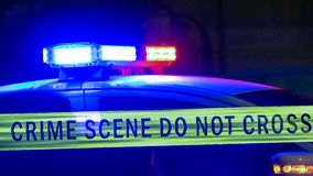 Sirena del coche policía con la cinta del límite fotografía de archivo libre de regalías