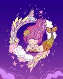 Sirena di menzogne vaga con una coda dorata iridescente su bacground viola royalty illustrazione gratis