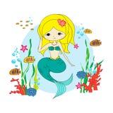 Sirena divertida con los pescados stock de ilustración