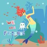 Sirena e gatto-polipo Ragazza del personaggio dei cartoni animati con capelli rossi e l'animale domestico bianco blu e del coda royalty illustrazione gratis