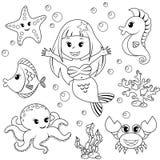 Sirena ed animali di mare Pesce, stella marina, polipo, ippocampo Fotografie Stock