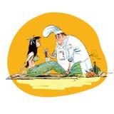 Sirena en el restaurante de la cocina de los pescados libre illustration