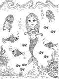 Sirena en la parte inferior de mar ilustración del vector