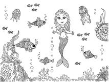 Sirena en la parte inferior de mar stock de ilustración