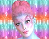 Sirena, essere mitologico in uno stile digitale moderno di arte Le conchiglie e le bolle la creano compongono e cosmetici Immagine Stock