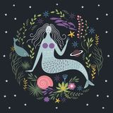 Sirena fra le alghe ed i pesci royalty illustrazione gratis