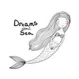 Sirena linda hermosa de la historieta con el pelo largo Sirena Tema del mar stock de ilustración