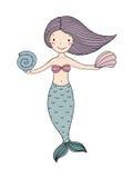 Sirena linda hermosa de la historieta con el pelo largo Sirena Tema del mar ilustración del vector