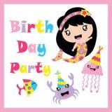 Sirena, medusa, fumetto del granchio e del pesce, cartolina di compleanno, carta da parati e cartolina d'auguri svegli Fotografia Stock