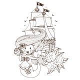 Sirena, nave di pirata, dado Tema del pirata dei grafici immagine stock libera da diritti