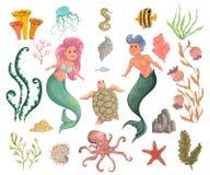 Sirena, tritone, piante marine ed animali Elementi decorativi di progettazione della raccolta Flora e fauna del mare del fumetto  illustrazione vettoriale