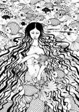 Sirena y pescados Imágenes de archivo libres de regalías