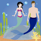 Sirena y Tritón Foto de archivo libre de regalías